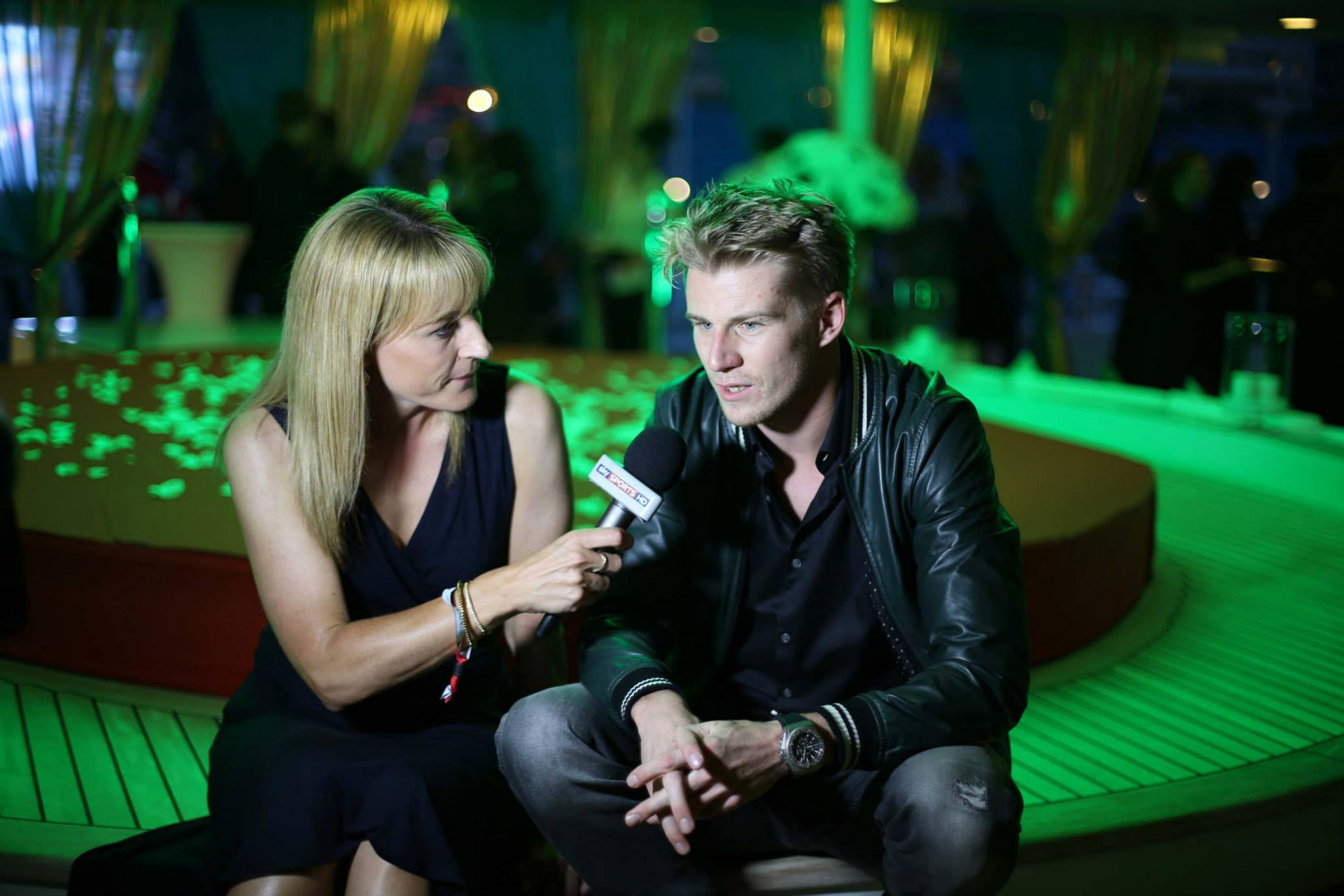 Nico Hulkenberg (GER) Sahara Force India F1 with Rachel Brookes (GBR) Sky Sports F1 Reporter at the Signature Monaco Party.